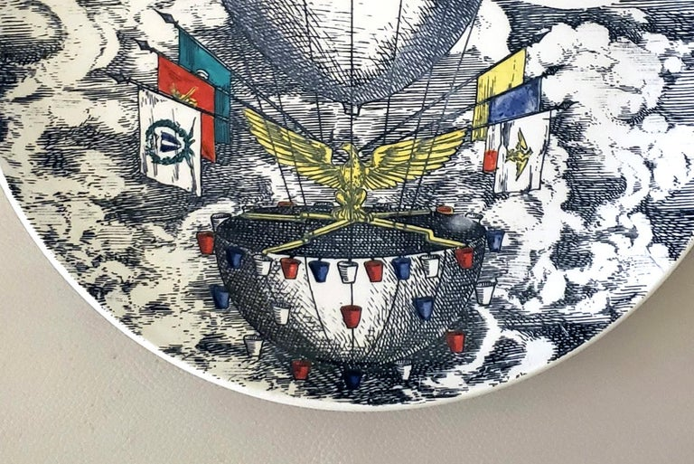 Italian Vintage Piero Fornasetti Plate, Mongolfiere 'hot air' Design For Sale