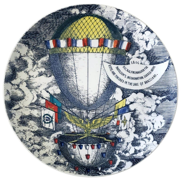 Vintage Piero Fornasetti Plate, Mongolfiere 'hot air' Design For Sale