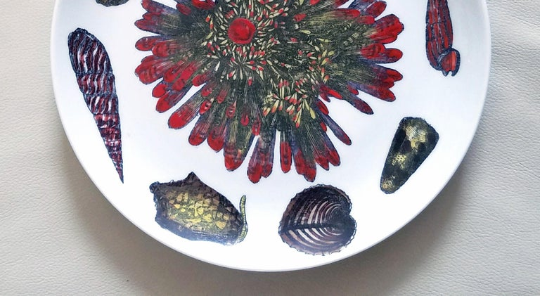 Vintage Piero Fornasetti Porcelain Plates, Pair Decorated with Sea Anemones In Good Condition For Sale In Downingtown, PA