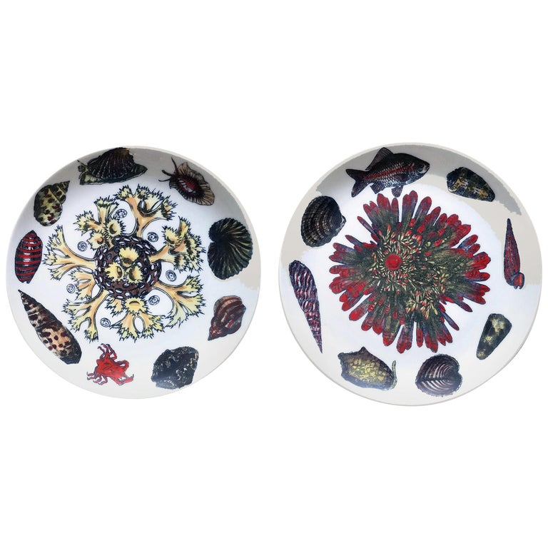 Vintage Piero Fornasetti Porcelain Plates, Pair Decorated with Sea Anemones For Sale