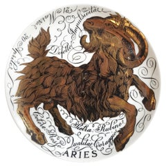 Vintage Piero Fornasetti Porcelain Zodiac Plate, Aries, Dated 1972