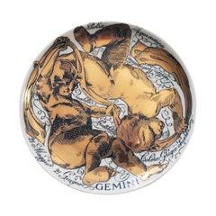 Vintage Piero Fornasetti Porcelain Zodiac Plate, Gemini, Dated 1973, No. 10