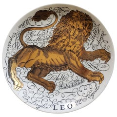 Vintage Piero Fornasetti Porcelain Zodiac Plate, Leo, Dated 1965, No 2