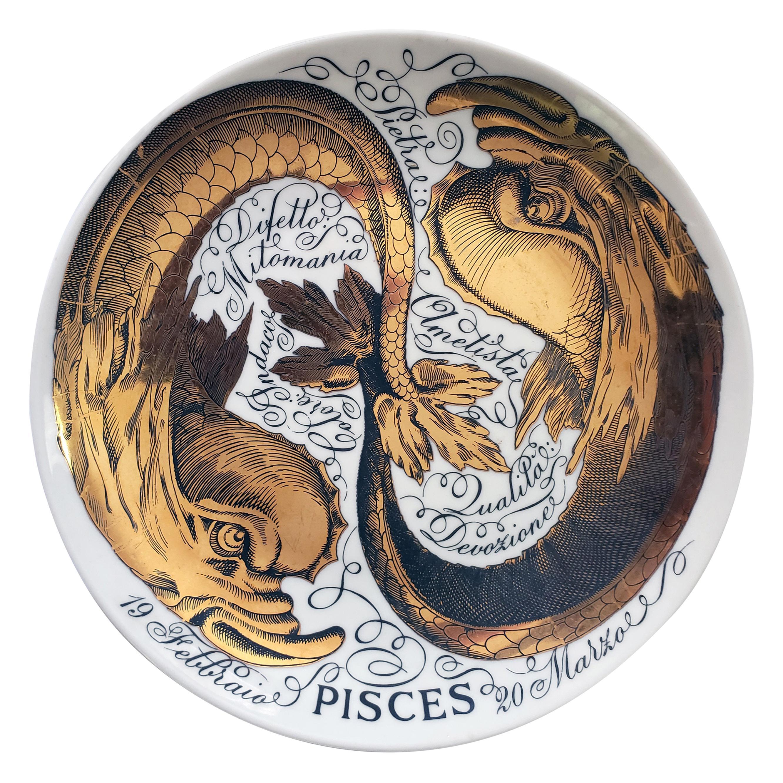 Vintage Piero Fornasetti Porcelain Zodiac Plate, Pisces, Astrali Pattern