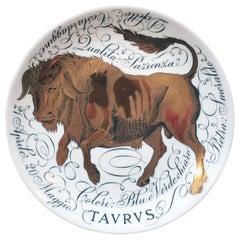 Vintage Piero Fornasetti Porcelain Zodiac Plate, Zodiac Sign- Taurus, Dated 1968