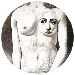 Vintage Piero Fornasetti Tema E Variazoni Porcelain Plate,  Number 308, 1970s
