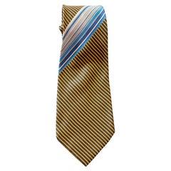 Vintage Pierre Balmain 100% silk tie with small yellow stripes