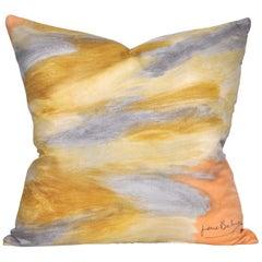Vintage Pierre Balmain Geometric Silk Scarf with Irish Linen Cushion Pillow Set