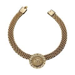 Vintage PIERRE BALMAIN Medallion Crest Rhinestone Necklace