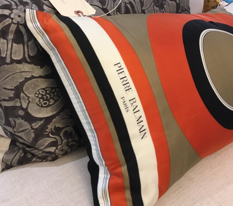 Vintage Pierre Balmain Silk and Linen Pillow For Sale 2