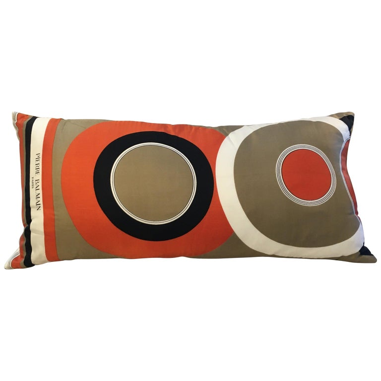 Vintage Pierre Balmain Silk and Linen Pillow For Sale