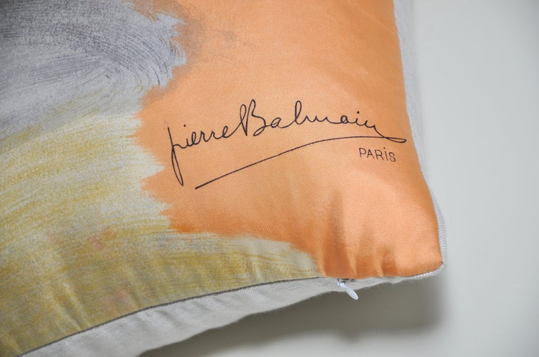 French Vintage Pierre Balmain Silk Fabric with Irish Linen Cushion Pillow For Sale