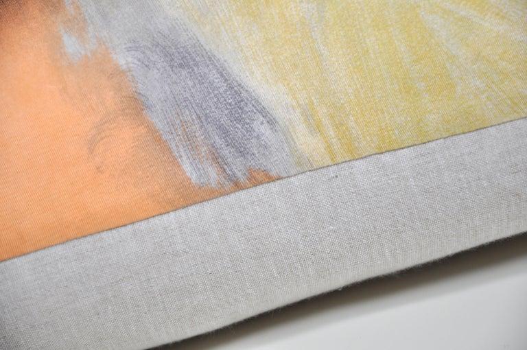 Vintage Pierre Balmain Silk Fabric with Irish Linen Cushion Pillow In Good Condition For Sale In Belfast, Northern Ireland