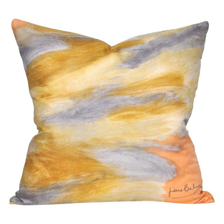 Vintage Pierre Balmain Silk Fabric with Irish Linen Cushion Pillow For Sale