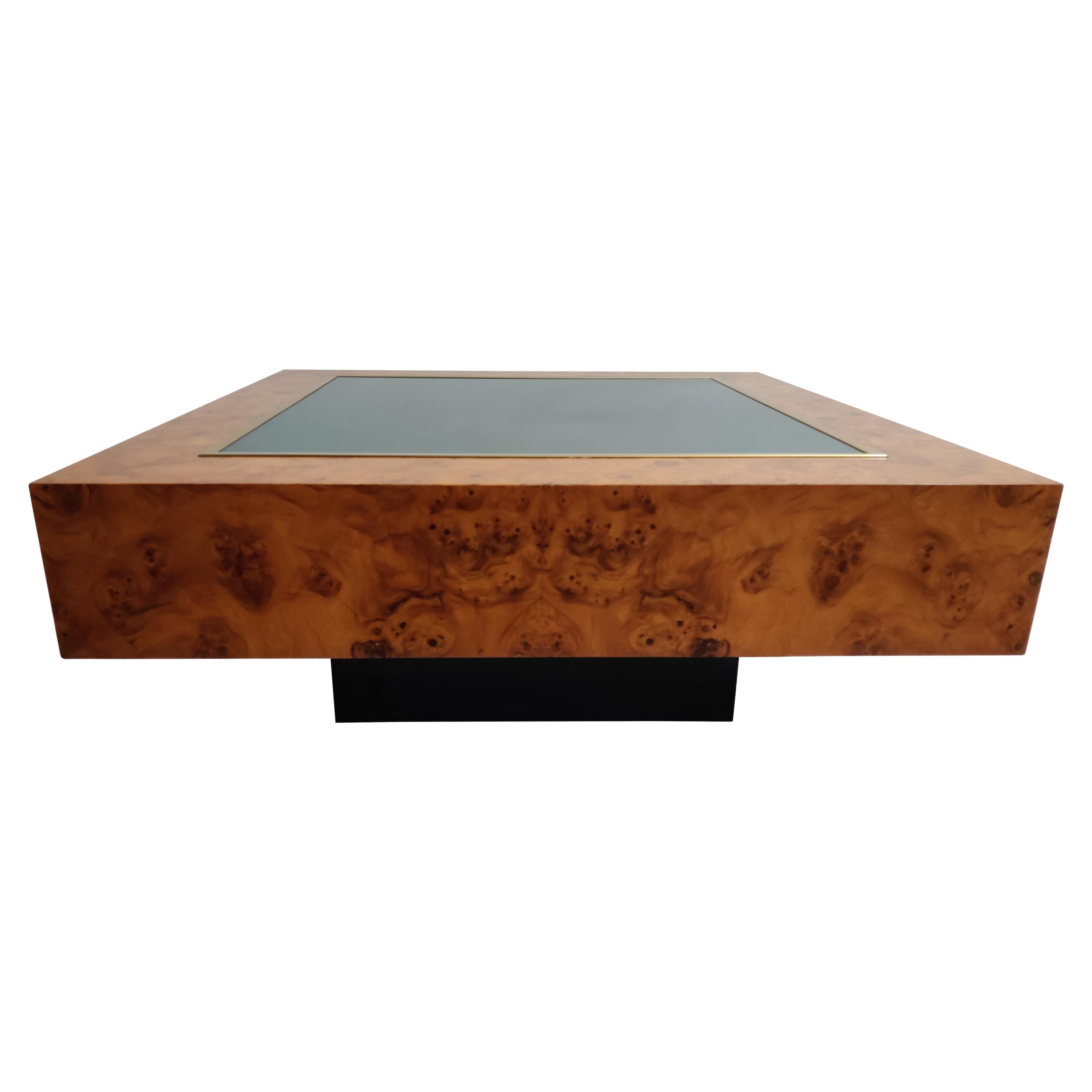 Vintage Pierre Cardin Brass, Glass and Burl Wood Coffee Table, 1970s, France