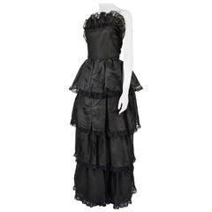 Vintage Pierre Cardin Haute Couture Black Ruffled Taffeta Gown