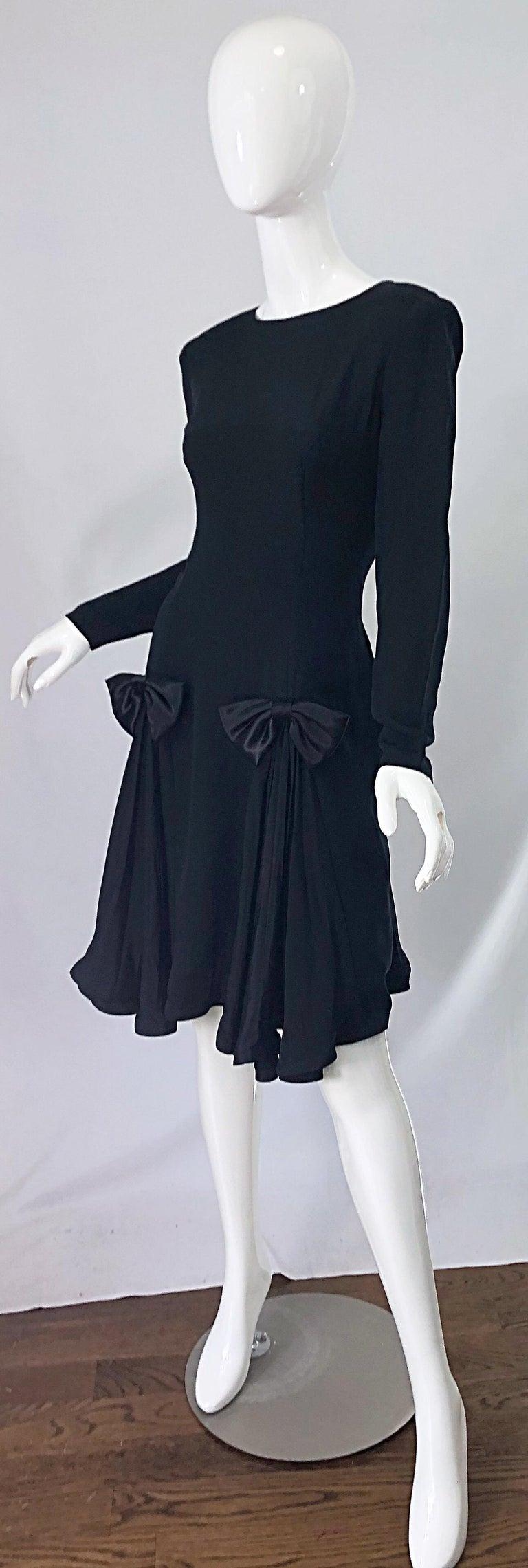 Vintage Pierre Cardin Size 8 Black Silk 1990s Long Sleeve 90s Bow Dress For Sale 1