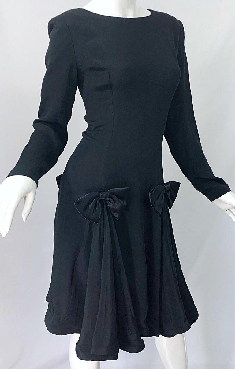 Vintage Pierre Cardin Size 8 Black Silk 1990s Long Sleeve 90s Bow Dress For Sale 2