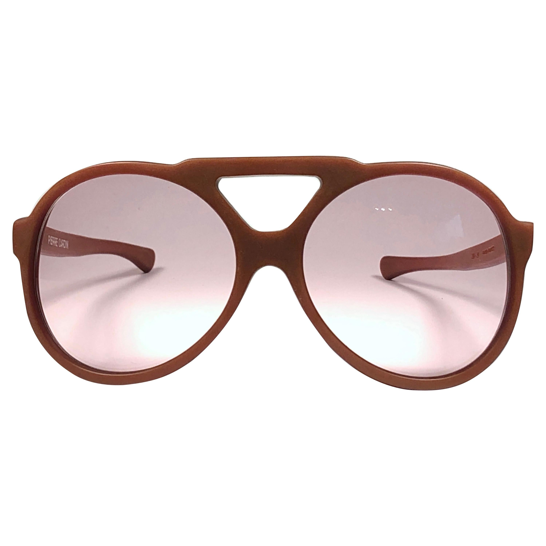 Vintage Pierre Cardin Tan Matte Aviator Medim Brown Lens 1960's Sunglasses