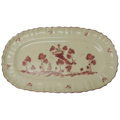 Vintage Pierre Deux French Country Oval Toile Scene Pink Serving Platter