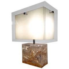 Vintage Pierre Giraudon Table Lamp in Fractal Resin