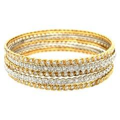 Vintage Pierre Sterle BiColor 18 Karat Gold Diamond Bangle Set