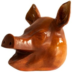 Vintage Pig in Porcelain as Decor for the Christmas Table, 19th Century