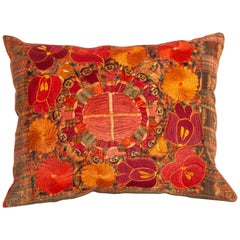 Vintage Pillow Case Fashioned from a Guatamalan Huipil Embroidery, 1960s