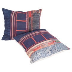 Vintage Pillow Cases / Cushions Made from a Hmong Hill Tribe Batik Textile