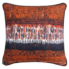 Vintage Luxury Pillow 'Variations' 1970s Fabric by Textile Designer Nicola Woods