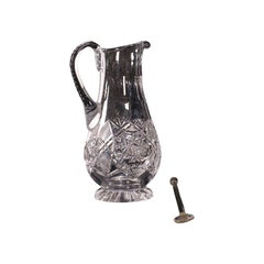 Vintage Pimms Jug, English, Glass, Punch Serving Ewer, Mid 20th Century, C.1950