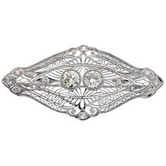 Vintage Pin 3.40 Carat Total Weight in Platinum, circa 1920s