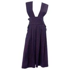 Vintage Pinafore Style Japanese Designer Jumper Dress in Purple Blue Denim