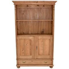 Vintage Pine Bookcase with Doors