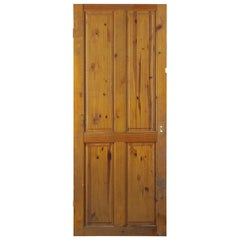 Vintage Pine Four Raised Panel Interior Door, 20th Century