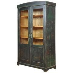Vintage Pine Glass Cupboard Cabinet, 1940s