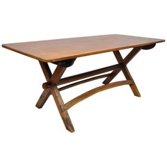Vintage Pine Wood Farm House Dining Table with Sawbuck Trestle X-Base