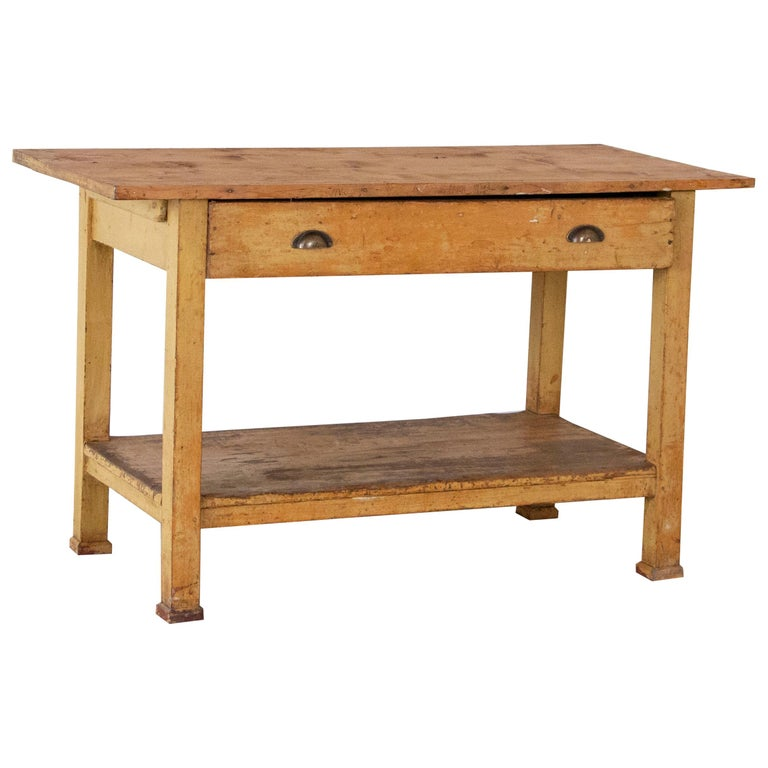 Vintage Pine Wood Work Table Small Kitchen Island With Original Painted Base At 1stdibs