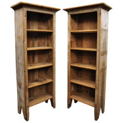 Vintage Pine Wooden Distress Painted Tall Narrow Kitchen Cupboard Bookcase