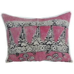 Vintage Pink and Black Hand Blocked Bolster Decorative Pillow