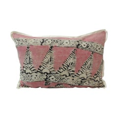 Vintage Pink and Black Hand Blocked Lumbar Decorative Pillow