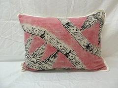 Vintage Pink and Black Hand Blocked Lumbar Decorative Pillow