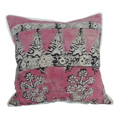 Vintage Pink and Black Hand Blocked Square Decorative Pillow