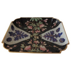 Vintage Pink and Black Imari Floral Trinket Tray