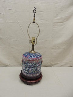 Vintage Pink and Blue Chines Export Table Lamp with Double Base
