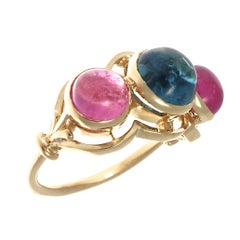Vintage Pink and Blue Tourmaline Gold Ring