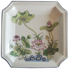 Vintage Square Pink and Green Ceramic Catchall Dish