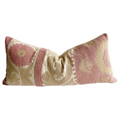 Vintage Pink and Tan Embroidered Suzani Pillow with Down Feather Insert