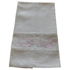 Vintage Pink and White Embroidered Bathroom Guest Towel