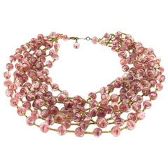 Vintage Pink Art Glass Bead Collar 1950s